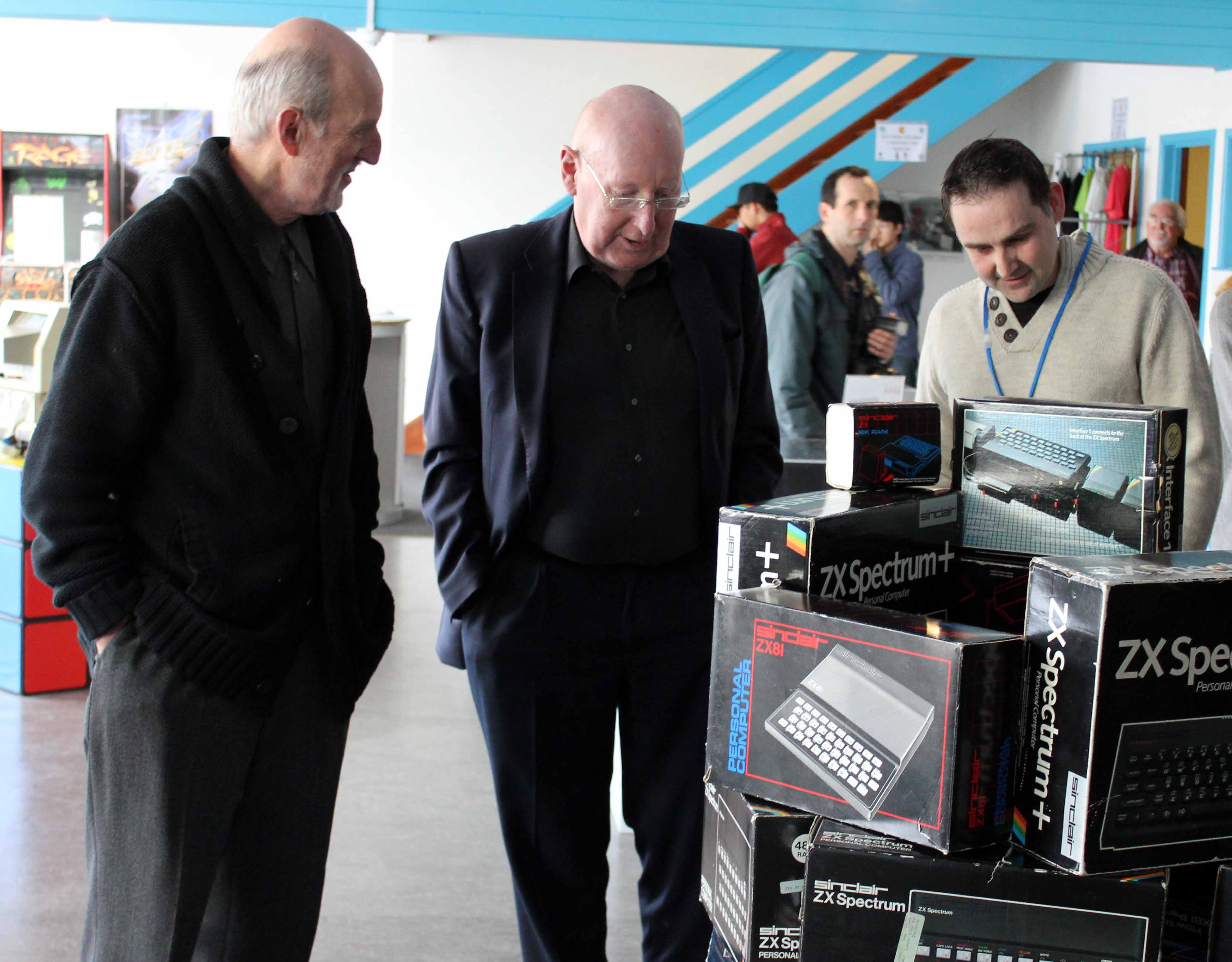 Jason Fitzpatrick with Sir Clive Sinclair and brother Iain Sinclair