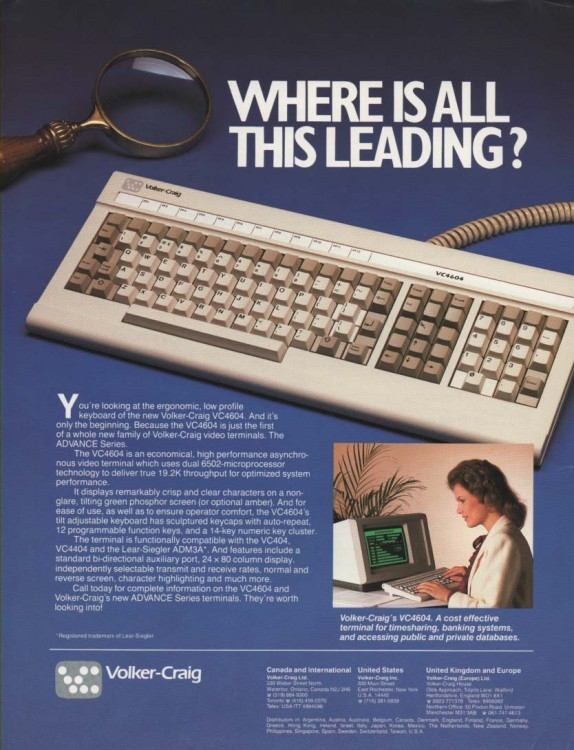 Scan of Document: Volker-Craig VC 4604 Keyboard
