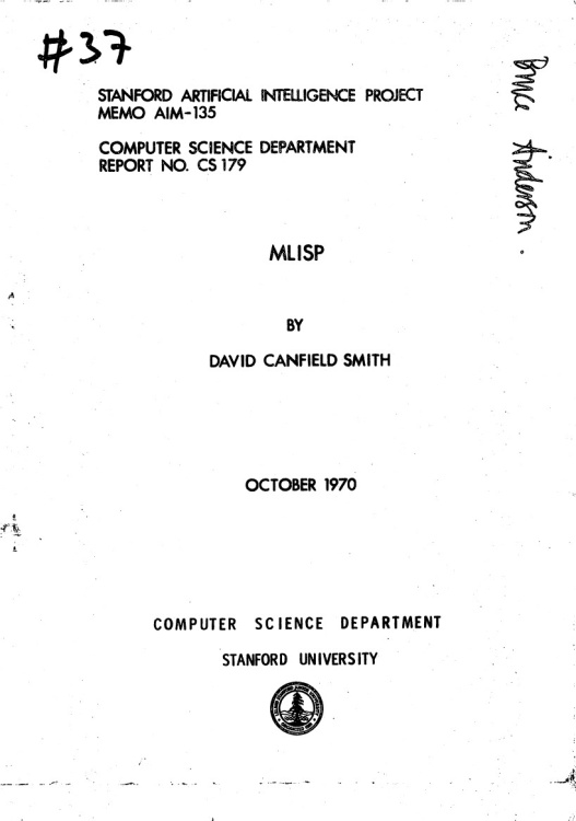 Article: Stanford Artificial Intelligence Project Memo AIM-135 - MLISP