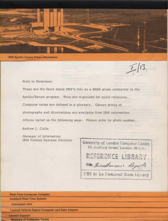 Scan of Document: IBM Apollo/Saturn Spacecraft Press Information