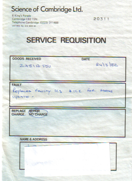 Scan of Document: Science of Cambridge Ltd Service Requisition