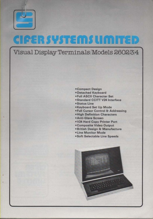 Scan of Document: Cifer Visual Display Terminals 2602/3/4
