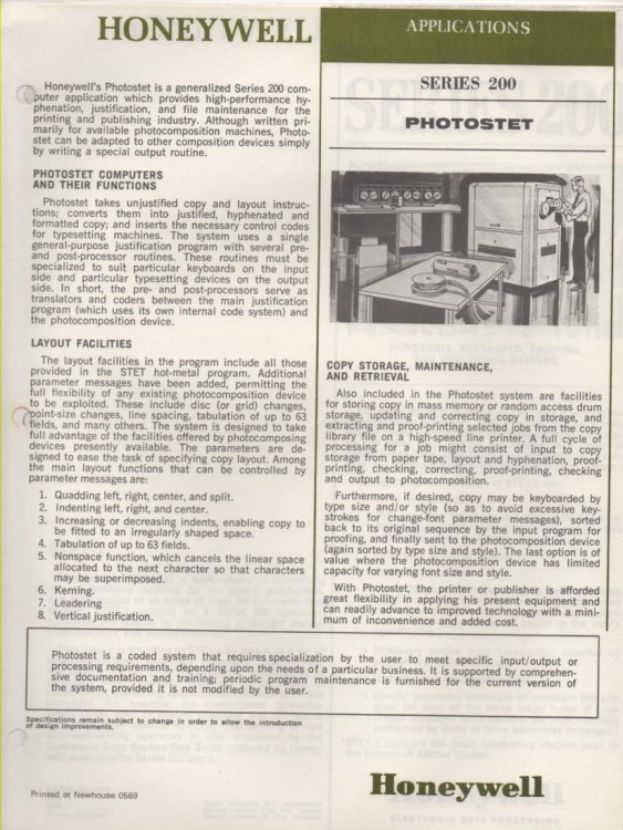 Scan of Document: Honeywell Series 200 leaflets and documents