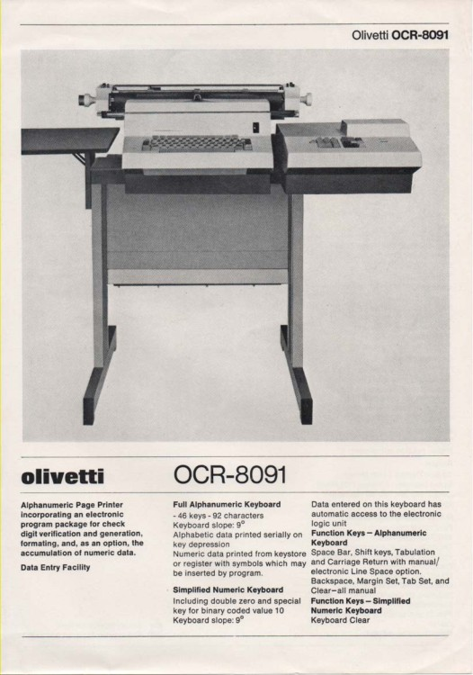 Scan of Document: Olivetti OCR-8091