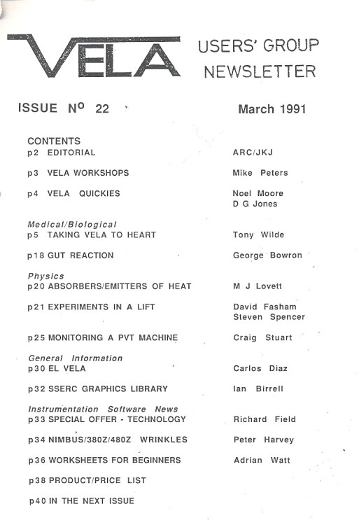 Scan of Document: Vela User's Group Newsletter  - Issue 22 March 1991
