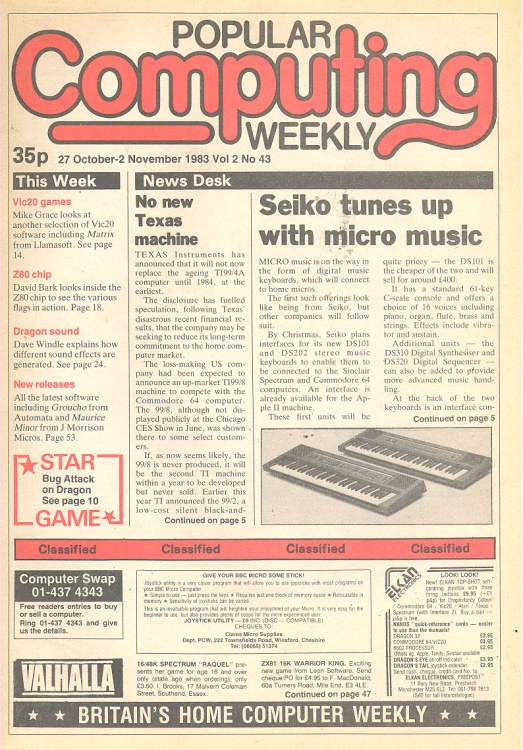 Article: Popular Computing Weekly Vol 2 No 43 - 27 October-2 November 1983