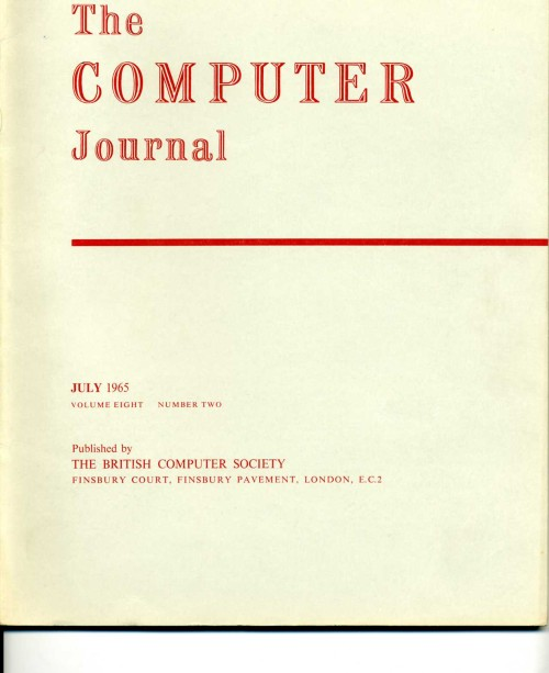 Scan of Document: The Computer Journal July 1965