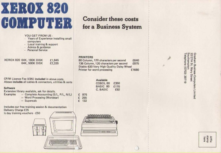 Scan of Document: Xerox 820 Computer Promotional Card