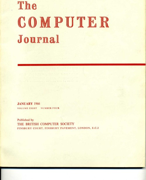 Scan of Document: The Computer Journal January 1966