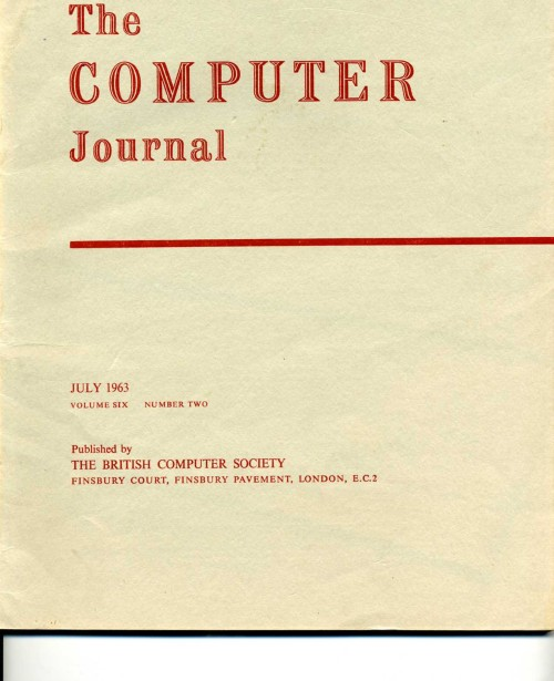 Scan of Document: The Computer Journal July 1963