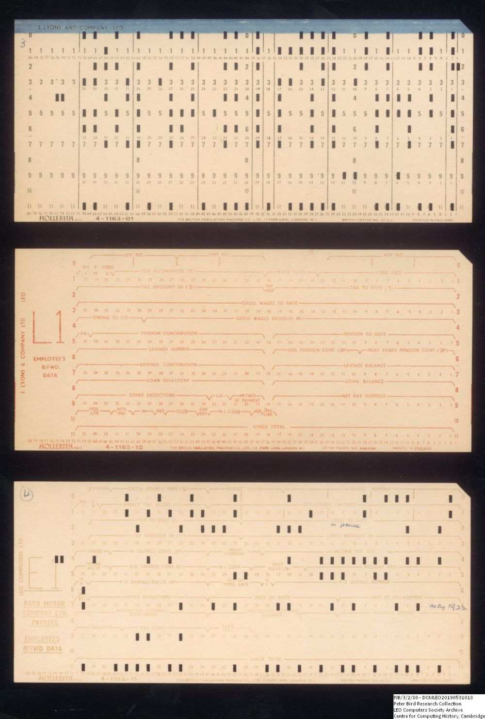 Scan of Document: 60868 Three LEO punch cards