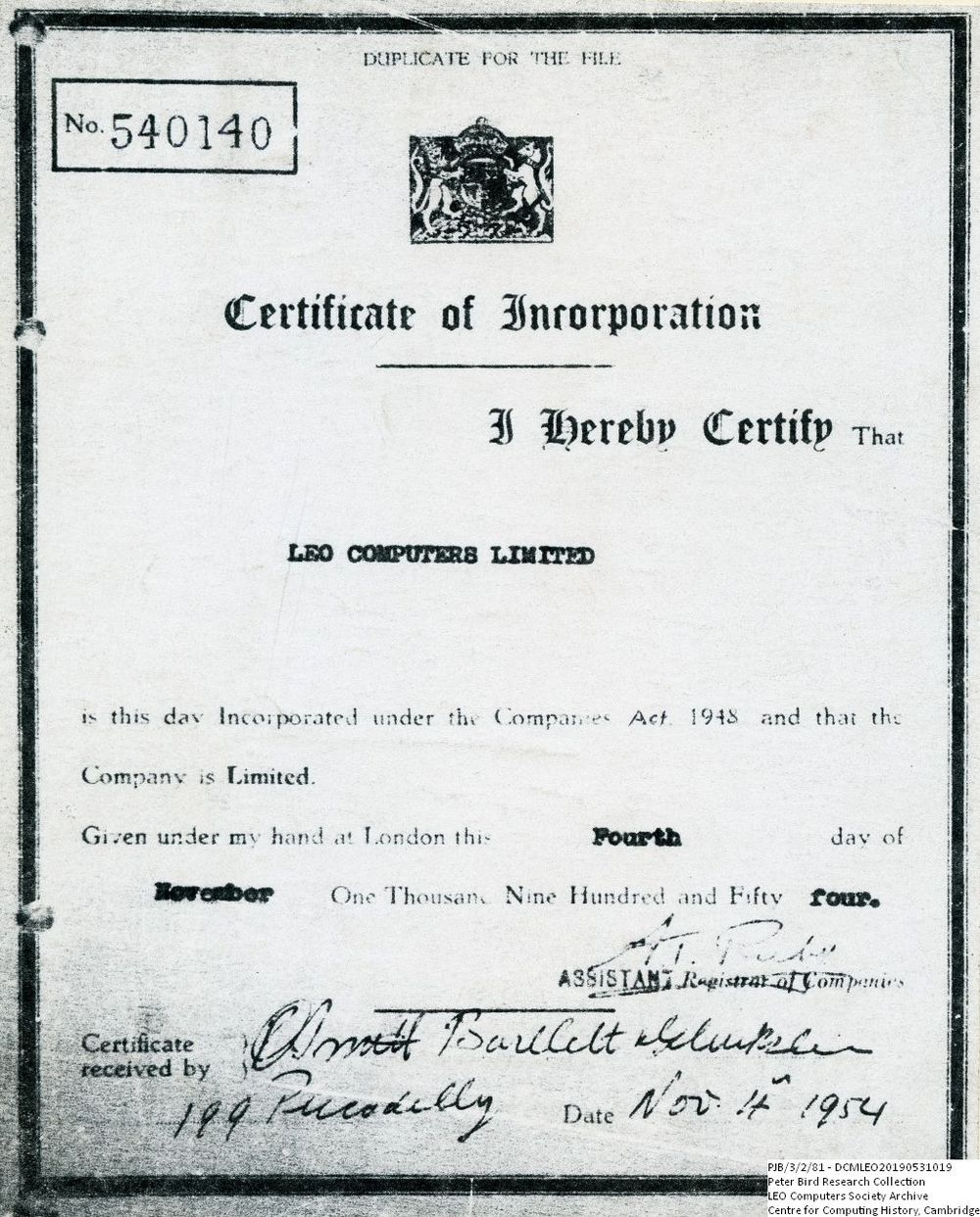 Scan of Document: 60869 Certificate of Incorporation for LEO Computers Ltd