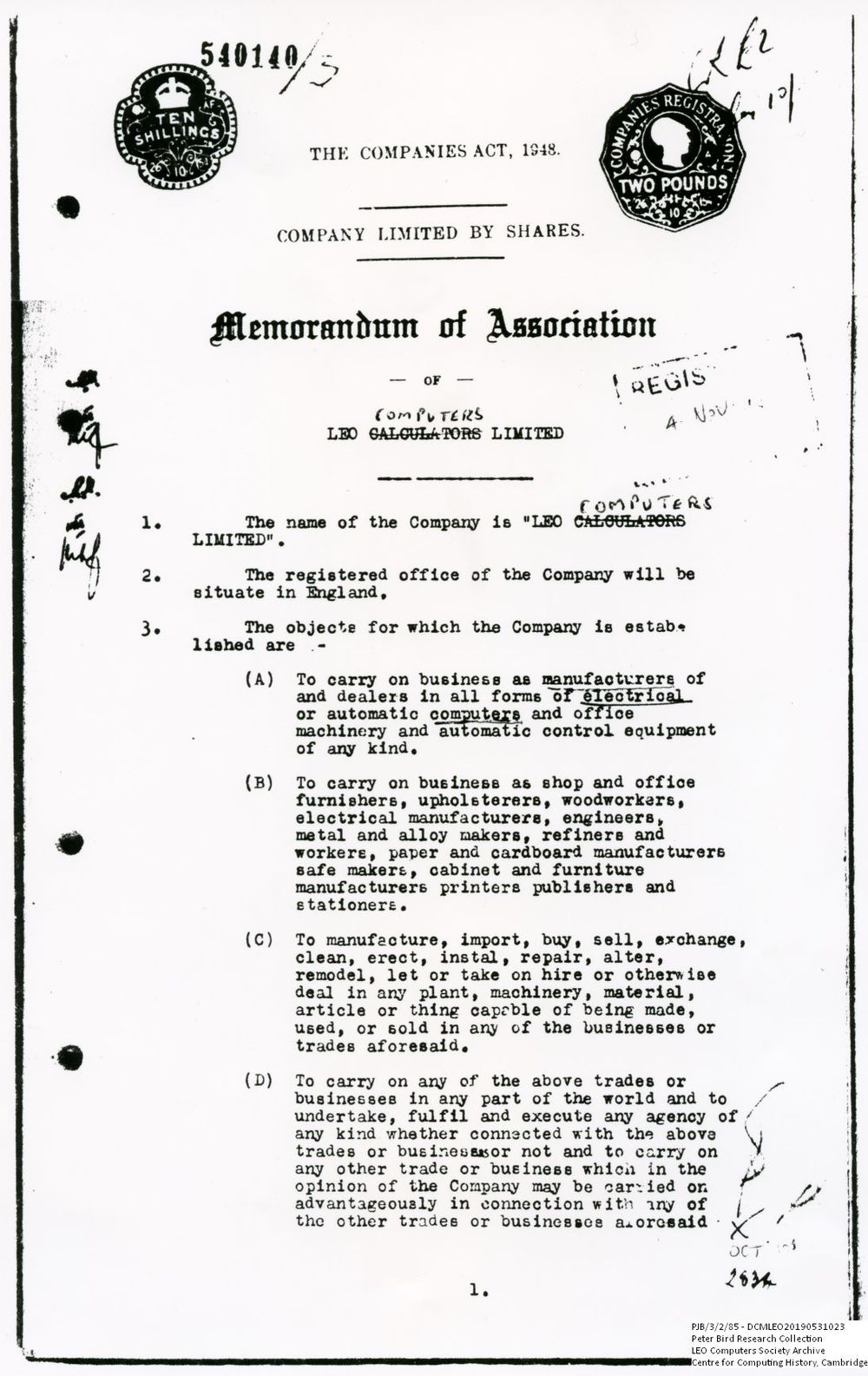 Scan of Document: 60873  Memorandum of Association of LEO Computers Limited (First page)
