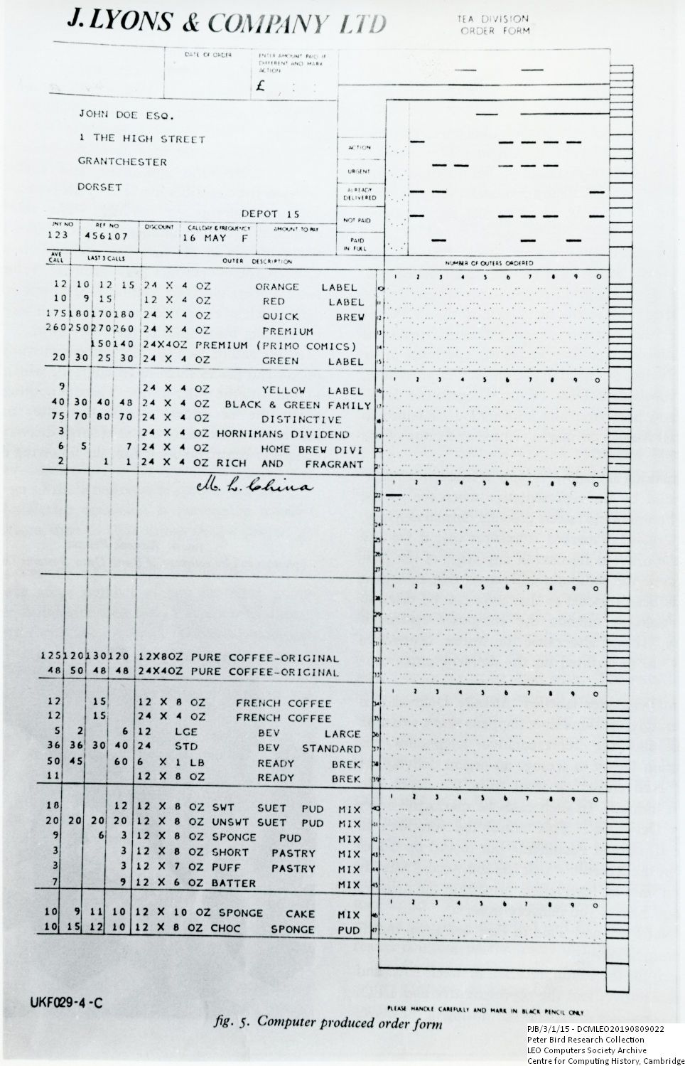 Scan of Document: 61007  Autolector Tea Division Order Form