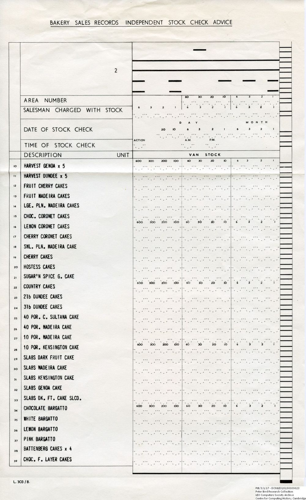 Scan of Document: 61009  Autolector Bakery Van Stock Check Form