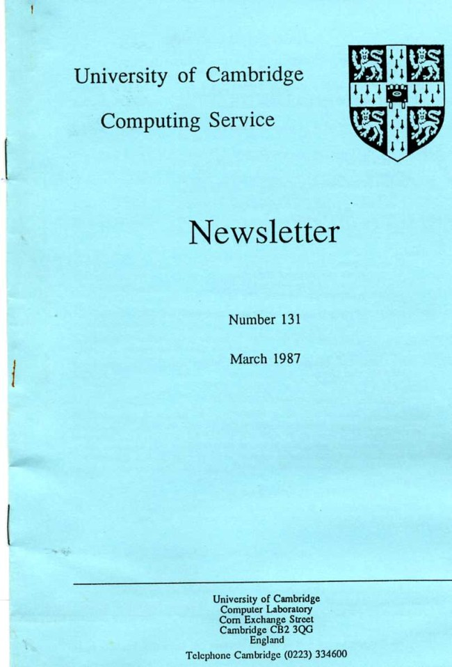 Scan of Document: University of Cambridge Computing Service October 1989 Newsletter 149