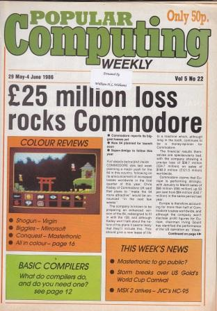 Article: Popular Computing Weekly Vol 5 No 22 - 29 May-4 June 1986