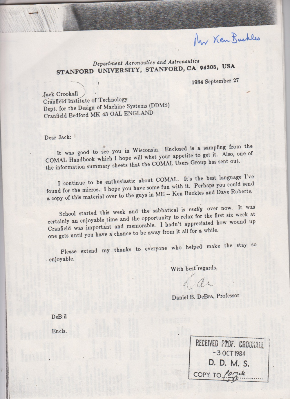 Scan of Document: A Letter From The Department Of Aeronautics and Astronautics