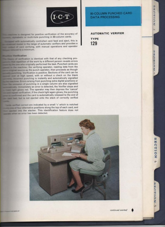 Scan of Document: 80 Column PunchedCard Data Processing - Automatic Verifier type 129