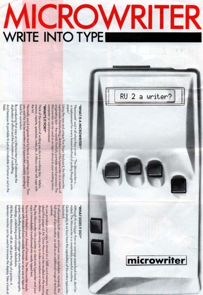 Scan of Document: Microwriter Write Into Type Leaflet