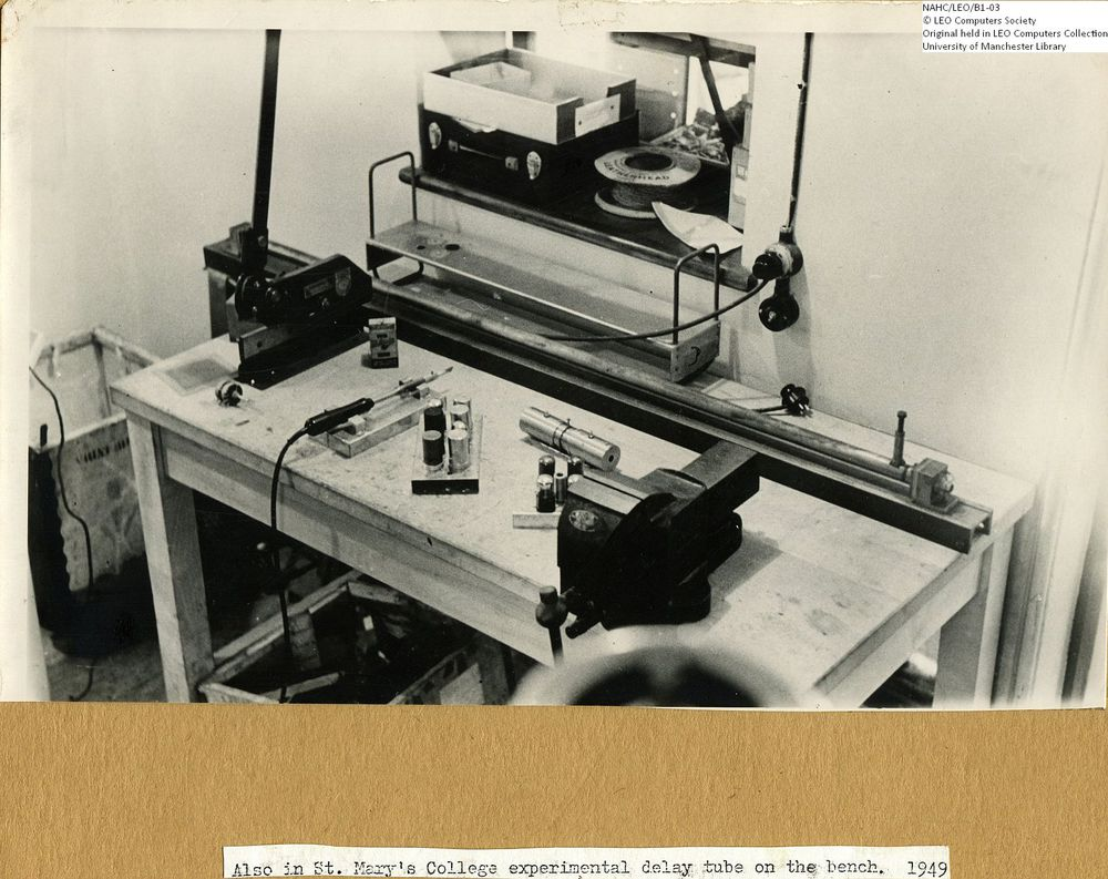Photograph of 61848  Experimental delay tube on the workshop bench  (1949)