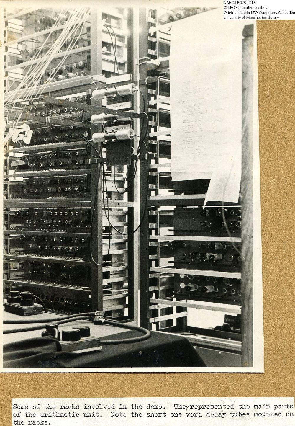 Photograph of 61852  LEO I racks set up for the Demonstration  (1950)