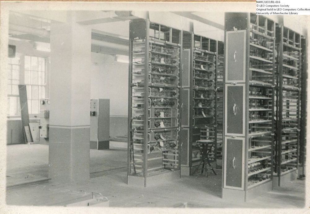 Photograph of 61853  View across the LEO I racks towards the power supply units  (1950)