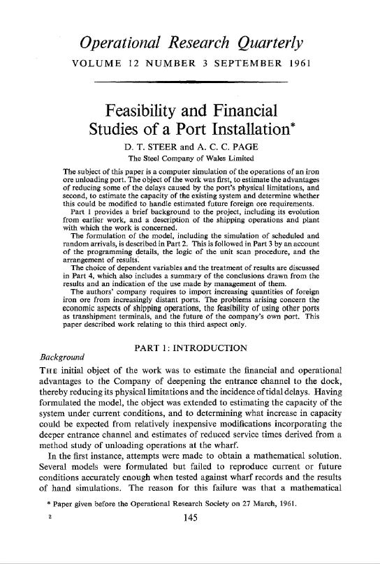 Article: Feasibility and Financial Studies of a Port Installation (Conducted on a Ferranti Pegasus I)