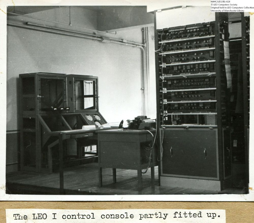 Photograph of 61857  LEO I Control Console during Installation  (1950)