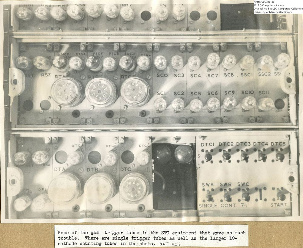 Photograph of 61866  STC gas tubes from early development of LEO I  (early 1950s)