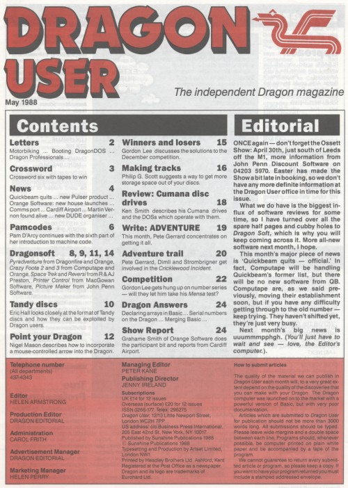 Scan of Document: Dragon User - May 1988