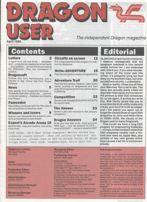 Scan of Document: Dragon User - April 1988