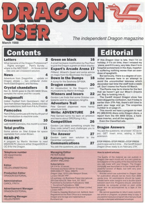 Scan of Document: Dragon User - March 1988
