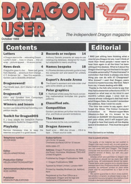 Scan of Document: Dragon User - October 1988