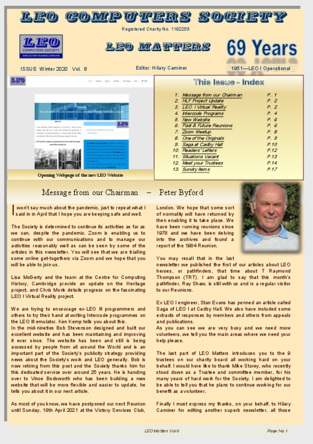 Article: LEO Computers Society, LEO MATTERS, Issue Autumn 2020  Vol. 8