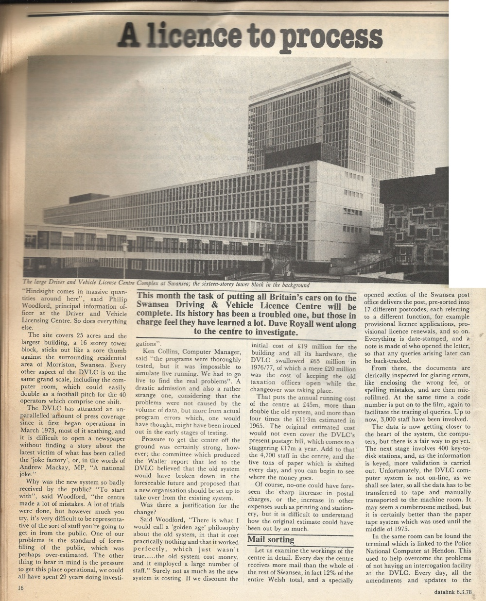 Scan of Document: Datalink Article - 'A Licence to Process' - Computing at the DVLC, c. 1978