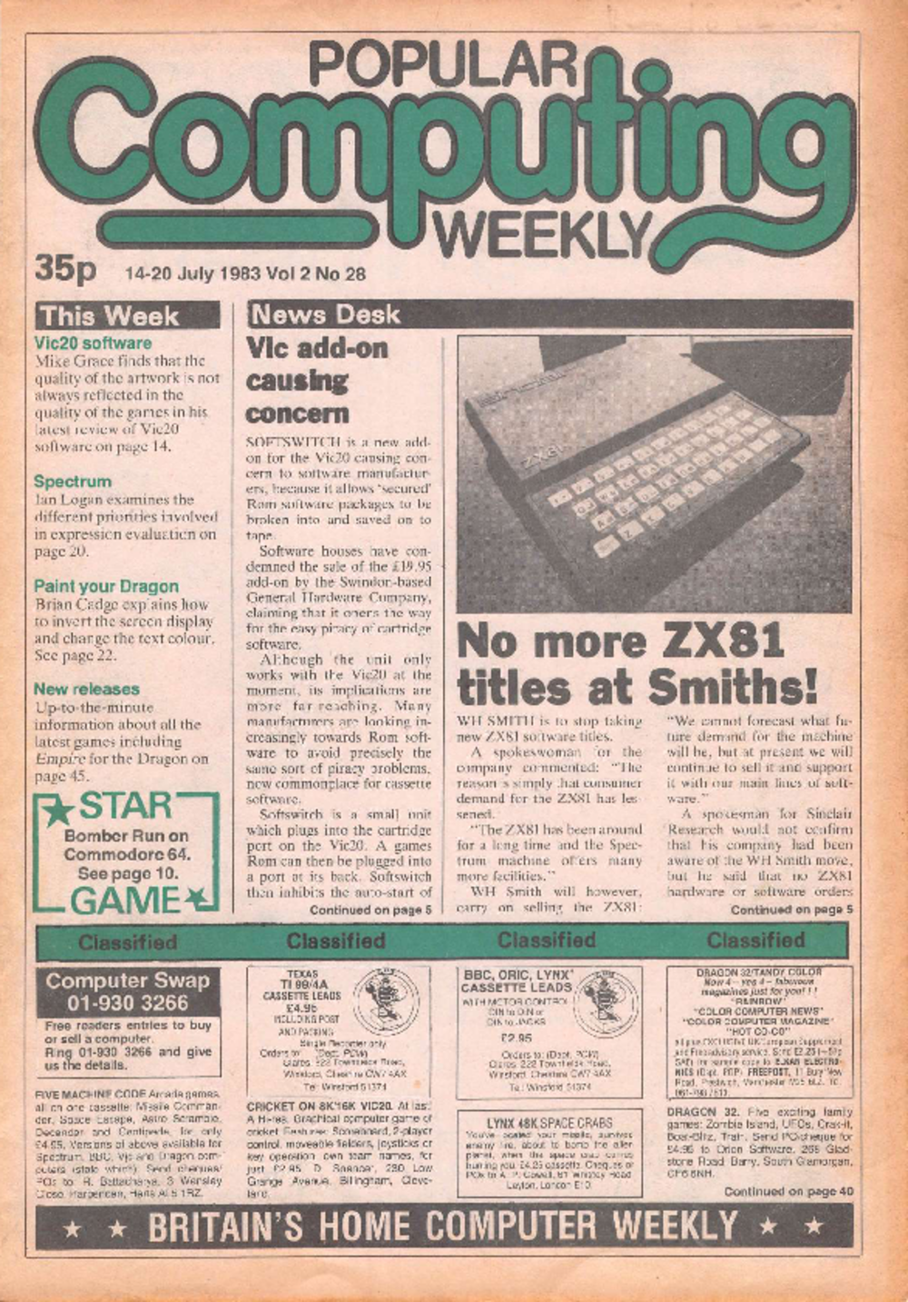 Article: Popular Computing Weekly Vol 2 No 28 - 14-20 July 1983