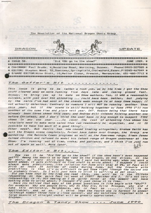 Scan of Document: Dragon Update - June 1989
