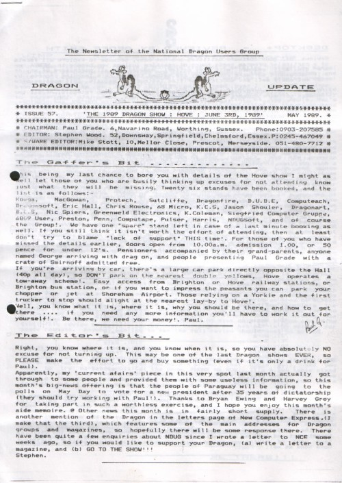 Scan of Document: Dragon Update - May 1989