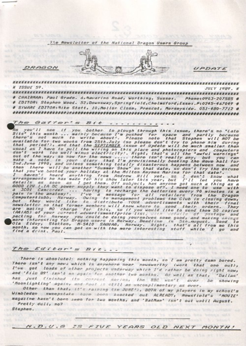 Scan of Document: Dragon Update - July 1989