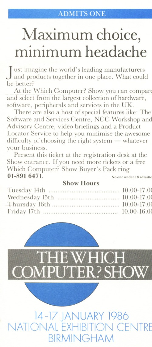Scan of Document: The Which Computer Show - 1986