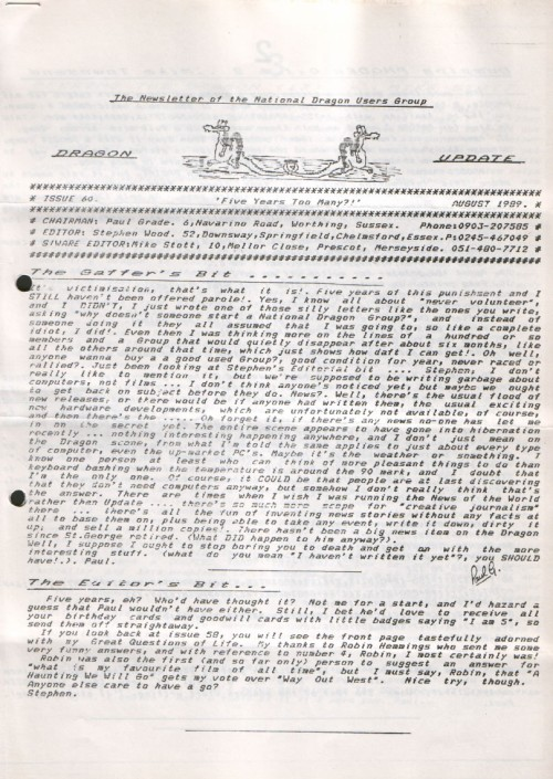 Scan of Document: Dragon Update - August 1989