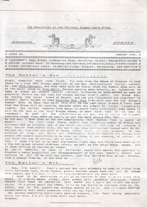 Scan of Document: Dragon Update - January 1990