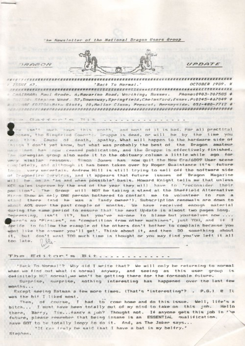 Scan of Document: Dragon Update - October 1989