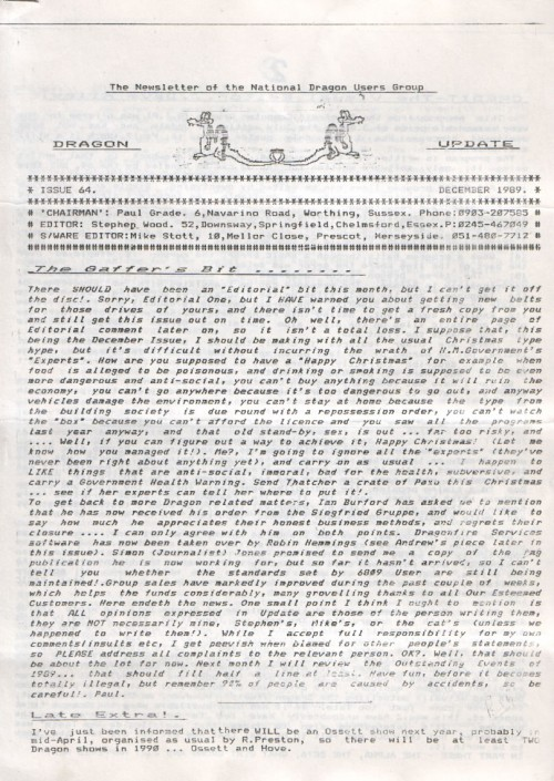 Scan of Document: Dragon Update - December 1989