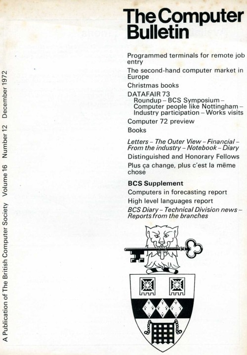 Scan of Document: The Computer Bulletin December 1972