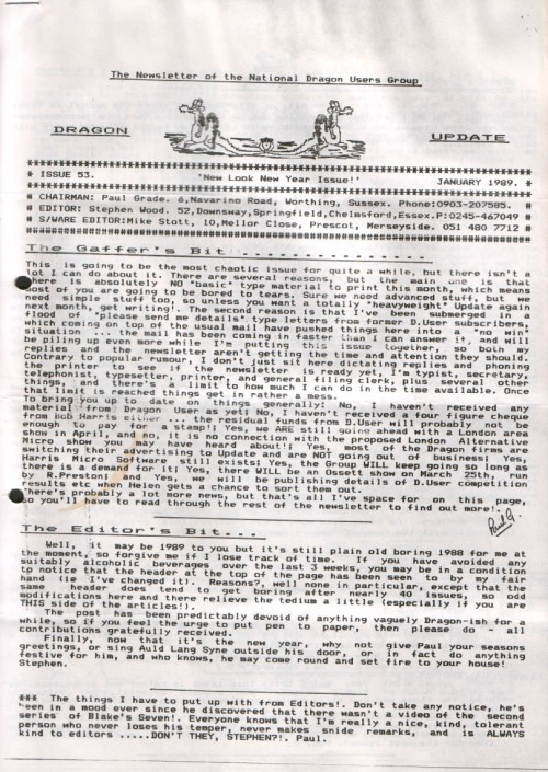 Scan of Document: Dragon Update - January 1989