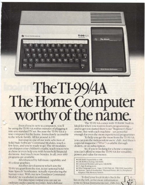 Scan of Document: TI-99/4A Advert