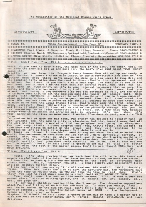 Scan of Document: Dragon Update - February 1989