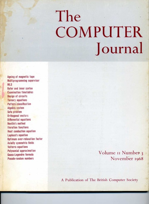 Scan of Document: The Computer Journal November 1968